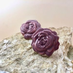 Grey Purple Rose Studs Hand Molded & Painted
